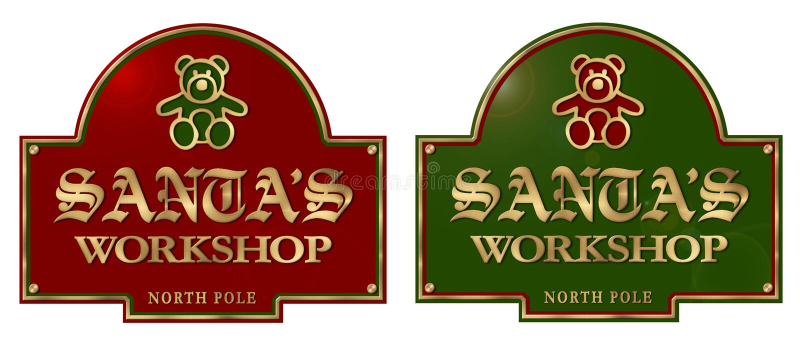 Металлическая пластинка знака мастерской Санты иллюстрация штока