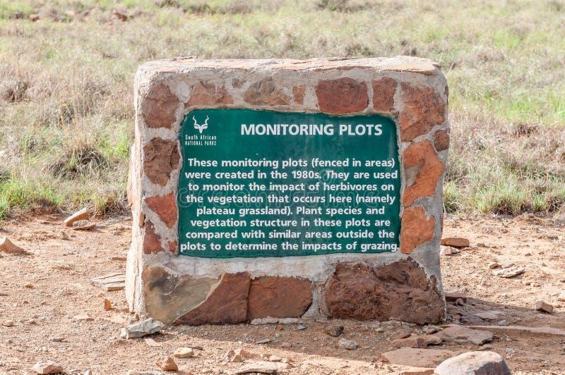 Металлическая пластинка информации в национальном парке зебры горы стоковые изображения