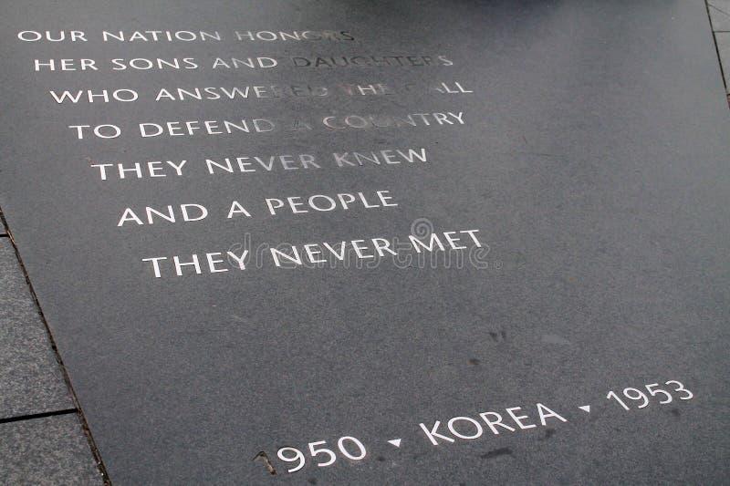 Металлическая пластинка надписи мемориала Корейской войны стоковые фотографии rf