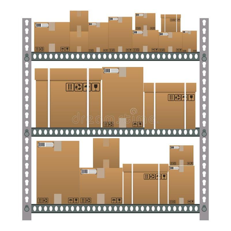 Металлические полки с коробками коричневого цвета шаржа иллюстрация штока