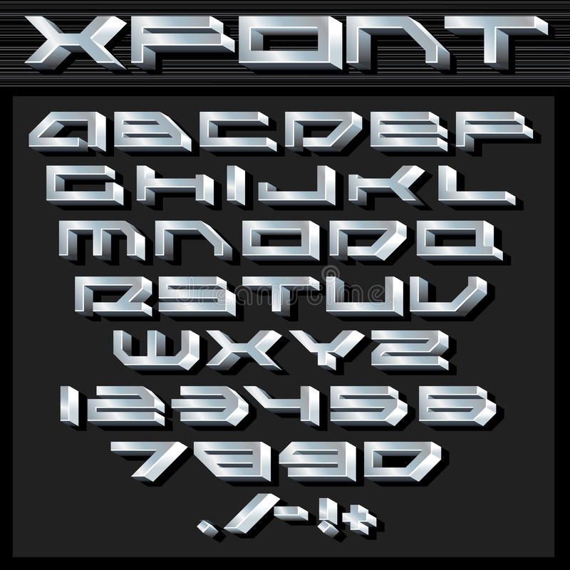 Металлические серебряные алфавит и номера иллюстрация штока