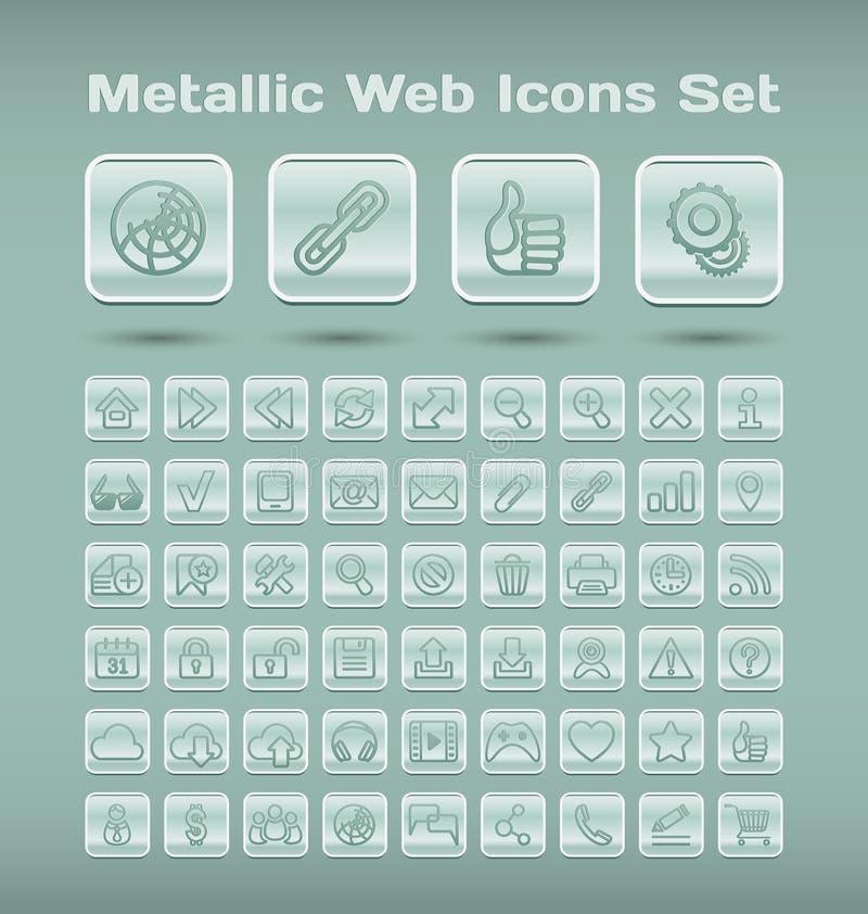 Металлические установленные значки сети иллюстрация вектора