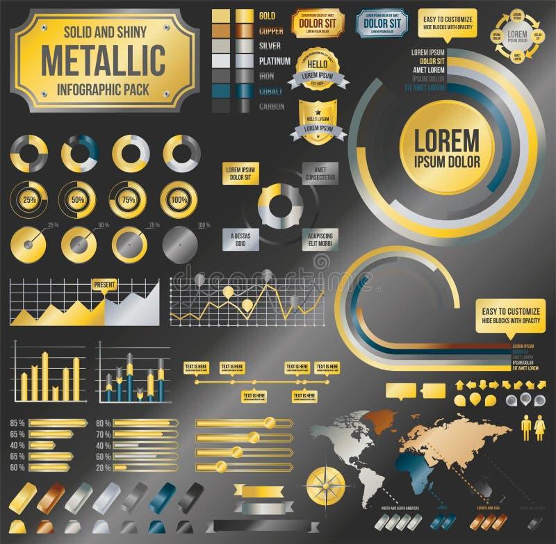 Металлические infographic элементы иллюстрация вектора