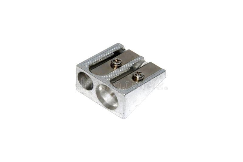 Металлический заточник ручки с изолированным белым концом-вверх предпосылки, s стоковые изображения