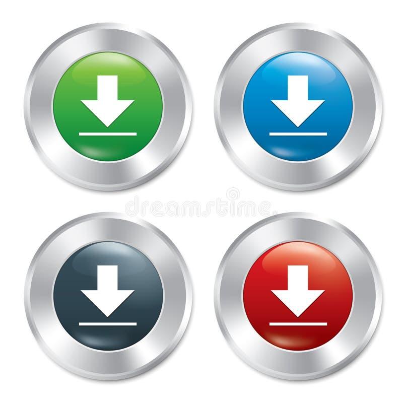 Металлический комплект шаблона кнопок загрузки. иллюстрация штока