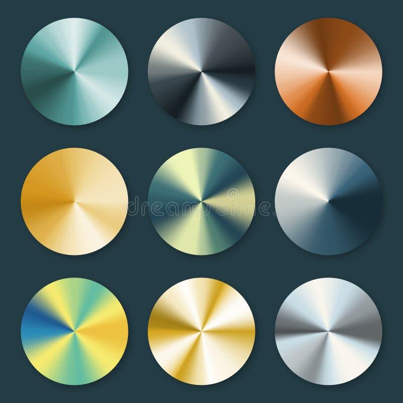 Металлический металл серебра и золота конический vector градиенты иллюстрация вектора