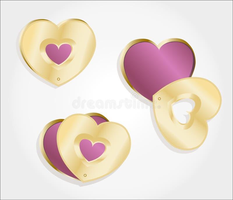 Металлический locket сердец золота бесплатная иллюстрация