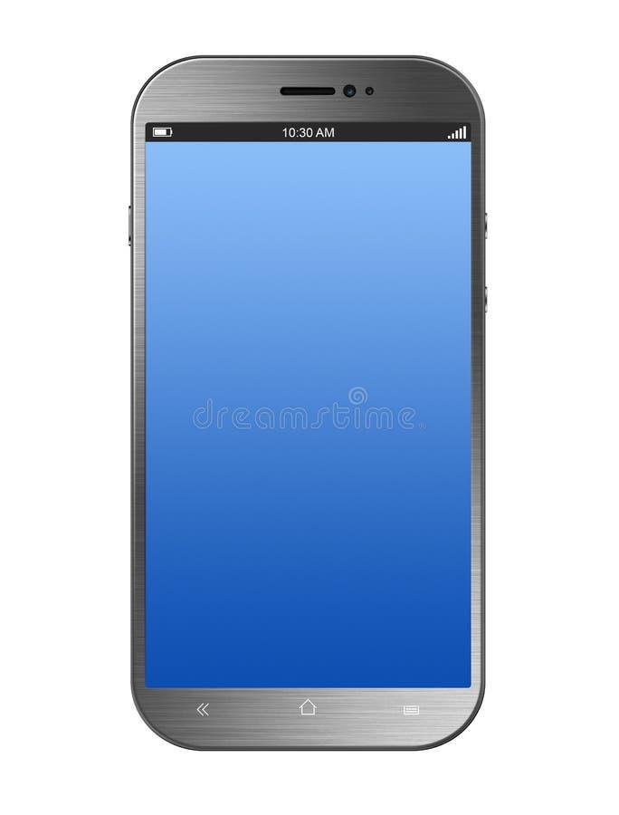Металлическое серебряное Smartphone изолированное на белизне стоковое изображение rf