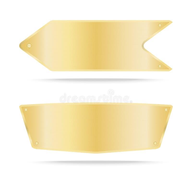 Металл ярлыка золота вектора или металлическая именная табличка золота иллюстрация вектора