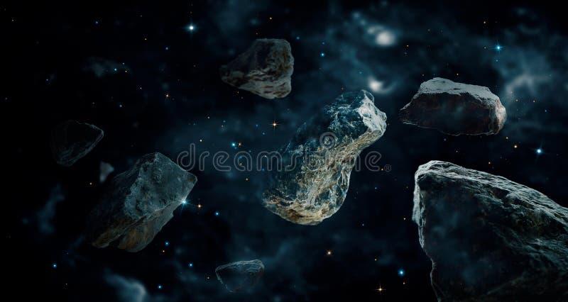 Метеориты в планетах глубокого космоса Астероиды в дистантном иллюстрация вектора