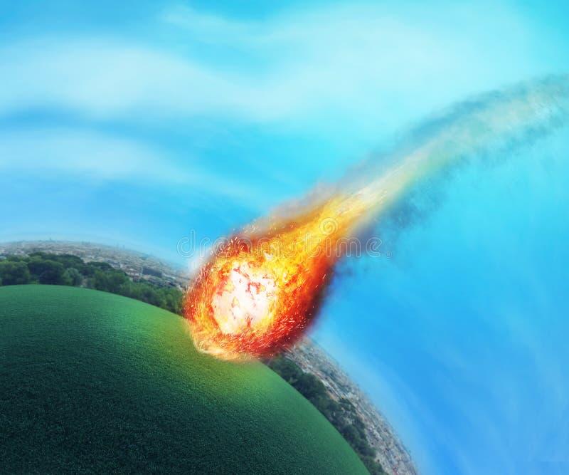 Метеорит около земли стоковое изображение rf