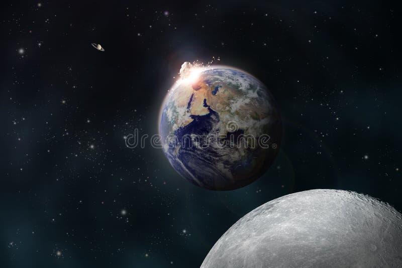 Метеорит плотно сжимает землю иллюстрация штока