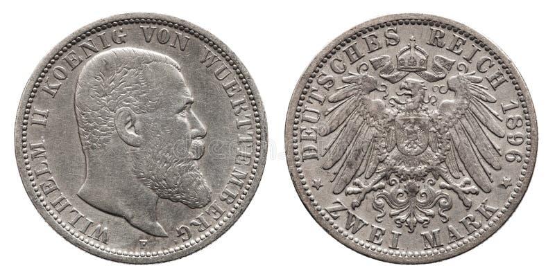 Метка 2 1896 серебряной монеты 2 Германии немецкая Wuerttemberg стоковое фото rf