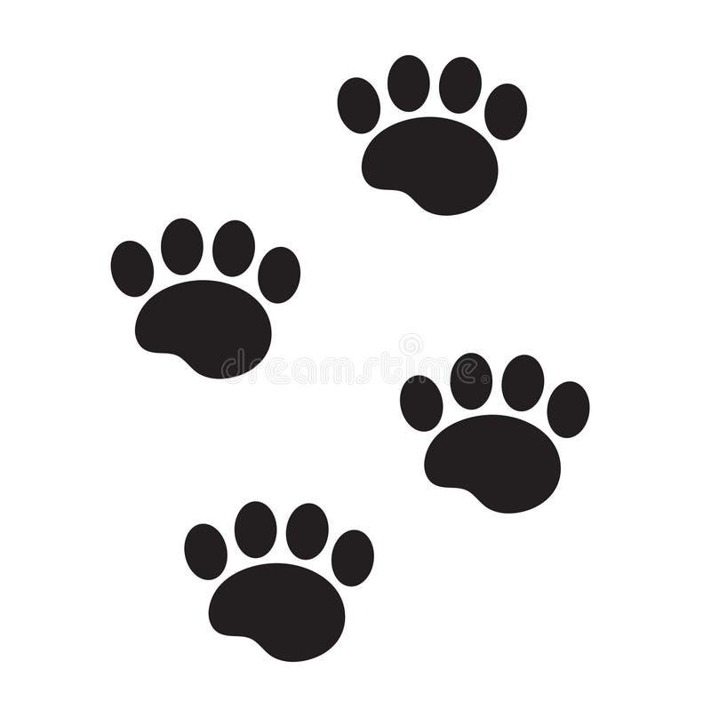 Метки животного значка, плоские, стиль ноги шаржа Трассировки лапки собаки изолированные на белой предпосылке также вектор иллюст иллюстрация вектора