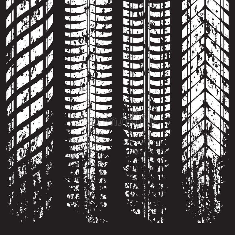 Метки следа автошины Grunge на черноте иллюстрация штока