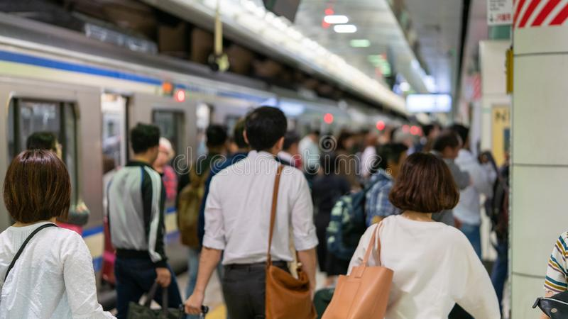 Метро Японии - час пик стоковое фото rf