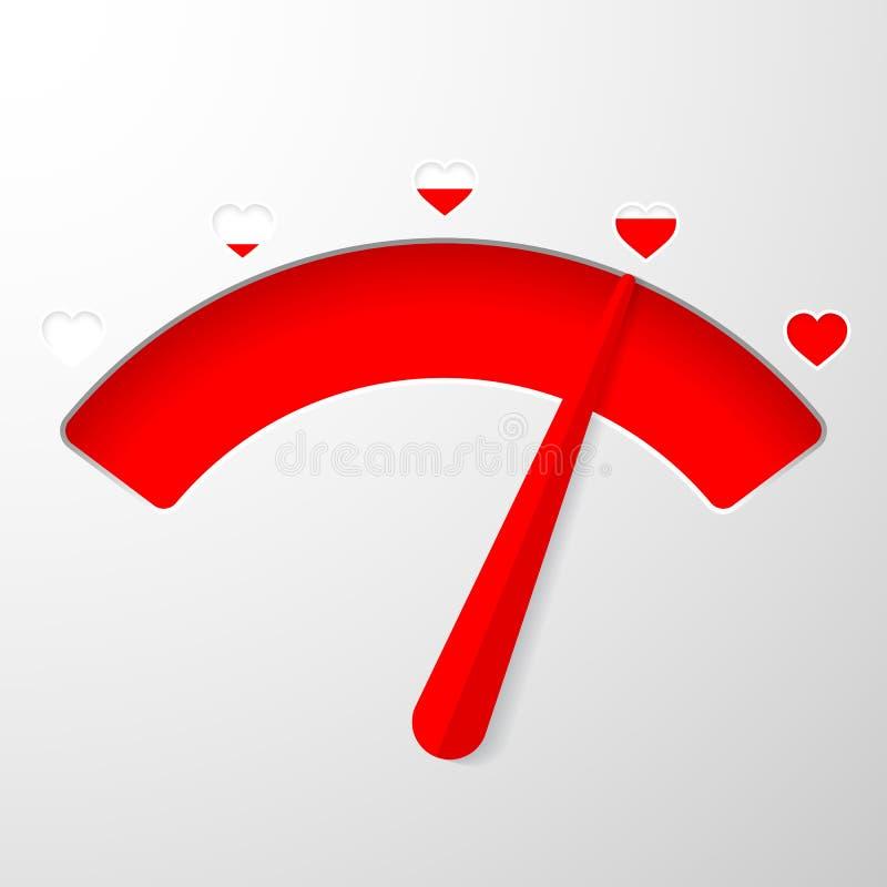 Метр любов Элемент карты дня Святого Валентина в простом плоском стиле r иллюстрация вектора