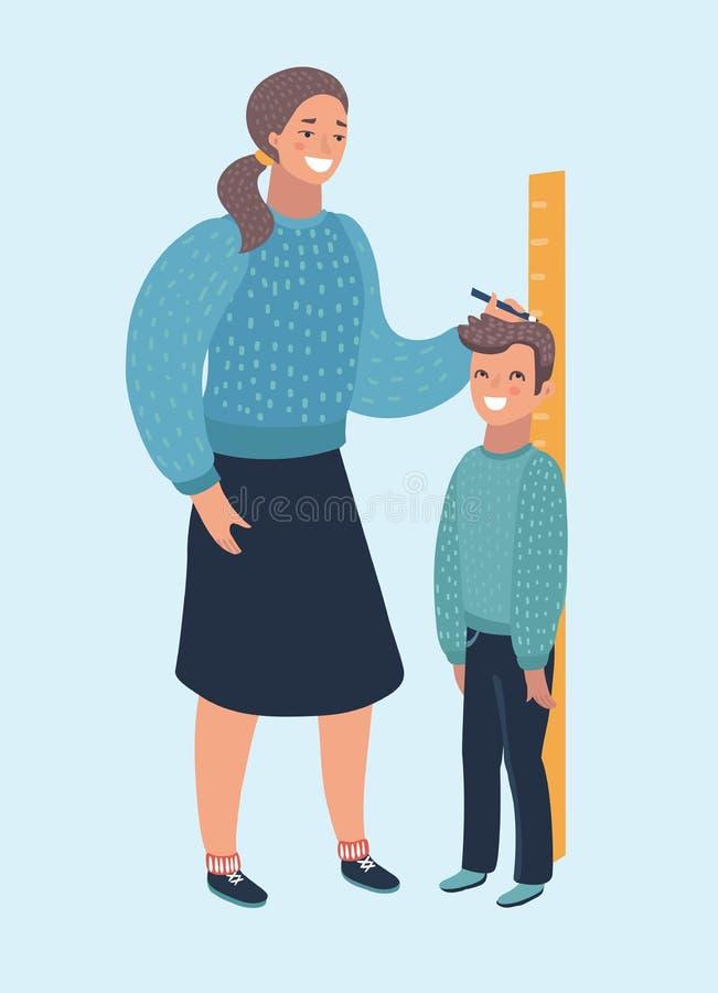 Метр правителя женщины матери высоты ребенк ребенка измерения растет здоровый полный цвет бесплатная иллюстрация