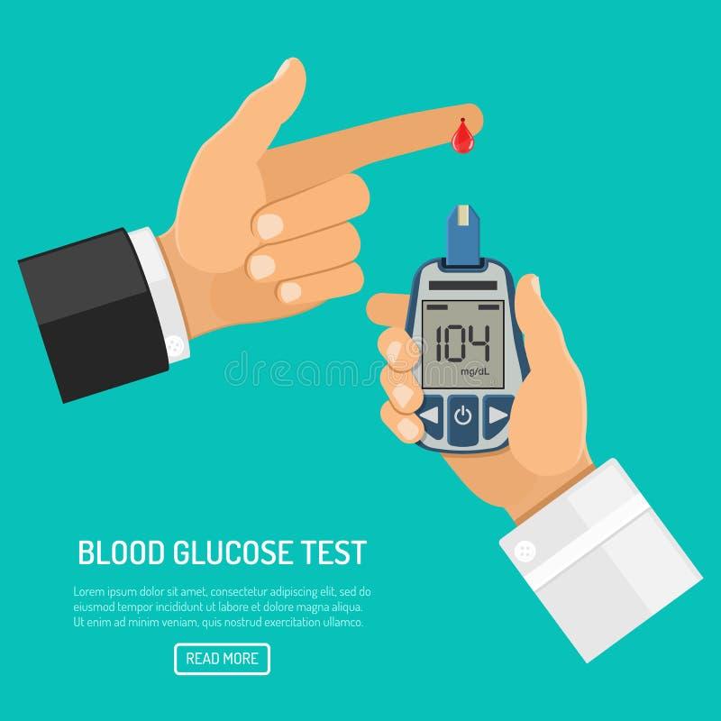 Метр содержания глюкозы в крови в руке иллюстрация вектора
