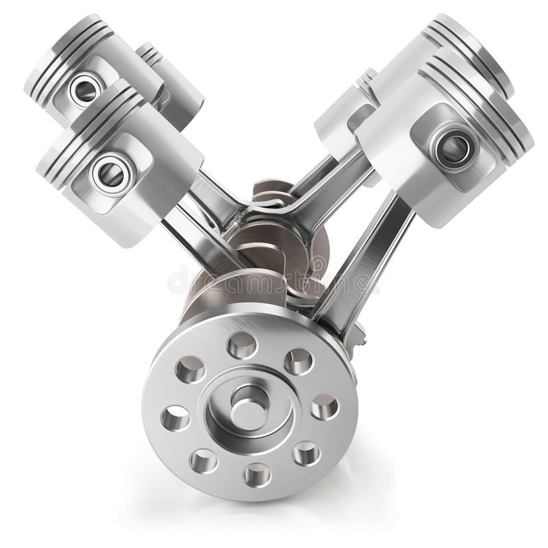 Механизм двигателя поршеней V6 кривошина иллюстрация вектора