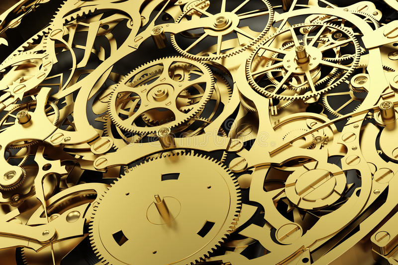 Механизм золота, clockwork с шестернями деятельности иллюстрация вектора