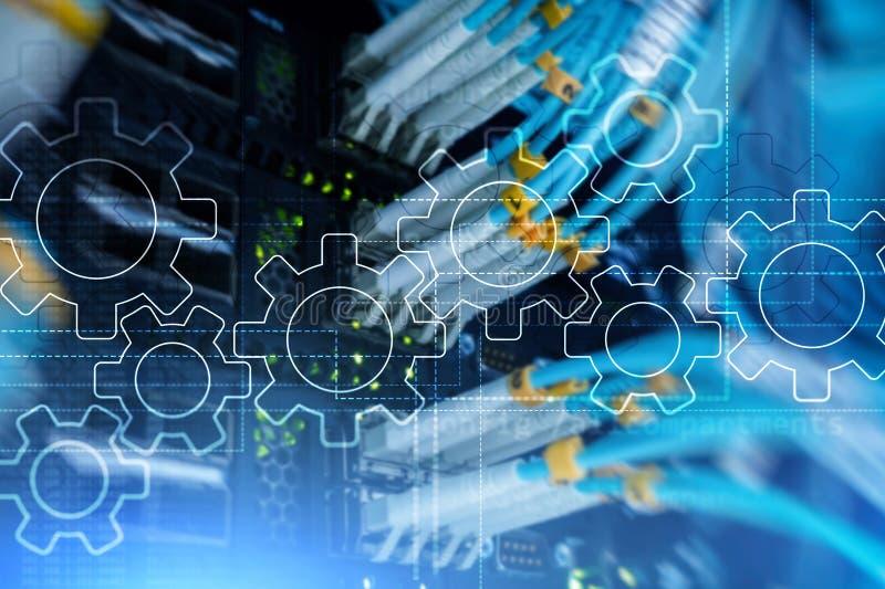 Механизм шестерней, цифровая концепция преобразования, интеграции данных и цифровой технологии стоковая фотография