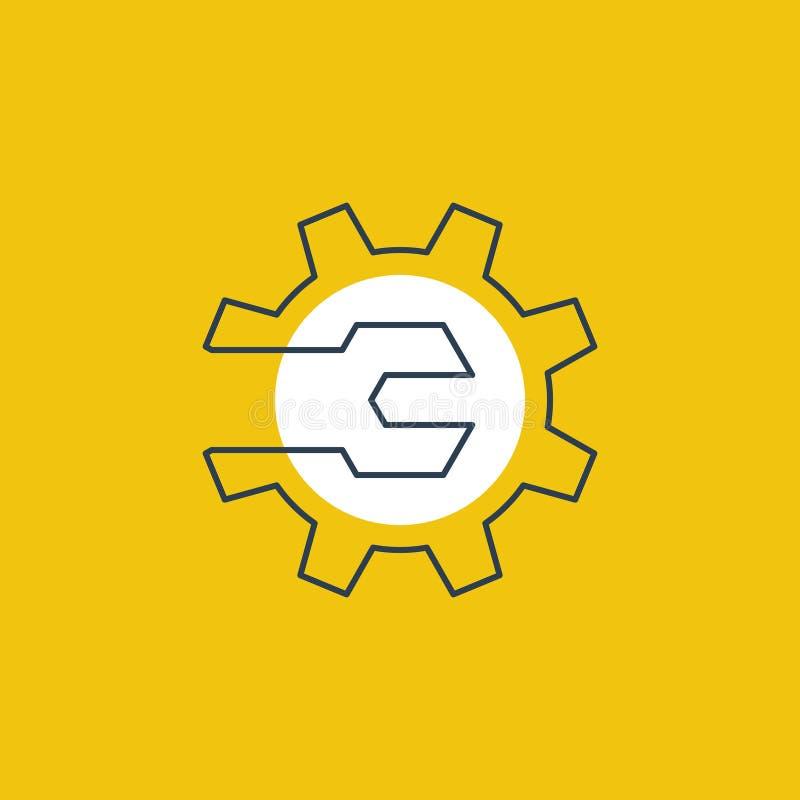 Механики проектируя концепцию логотипа, ключ и колесо шестерни бесплатная иллюстрация