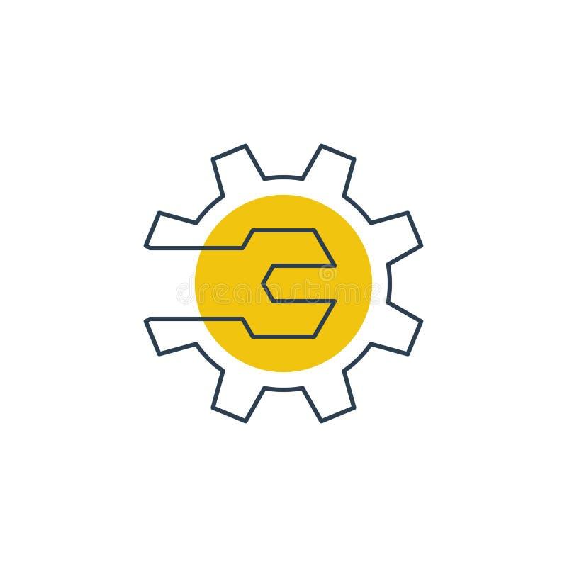 Механики проектируя концепцию логотипа, ключ и колесо шестерни иллюстрация вектора