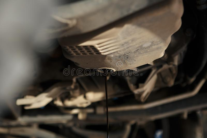 Механик автомобиля заменяя и лить свежее масло в двигатель на станции ремонтных услуг обслуживания стоковое фото rf