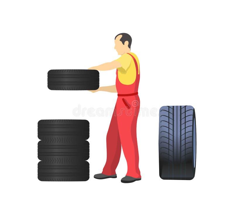 Механик аранжируя колеса, кладя автошины совместно бесплатная иллюстрация