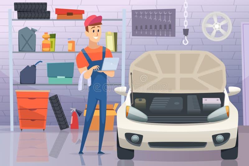 Механик в гараже Автоматическая отладка человека обслуживания ремонтируя предпосылку мультфильма вектора корабля иллюстрация штока