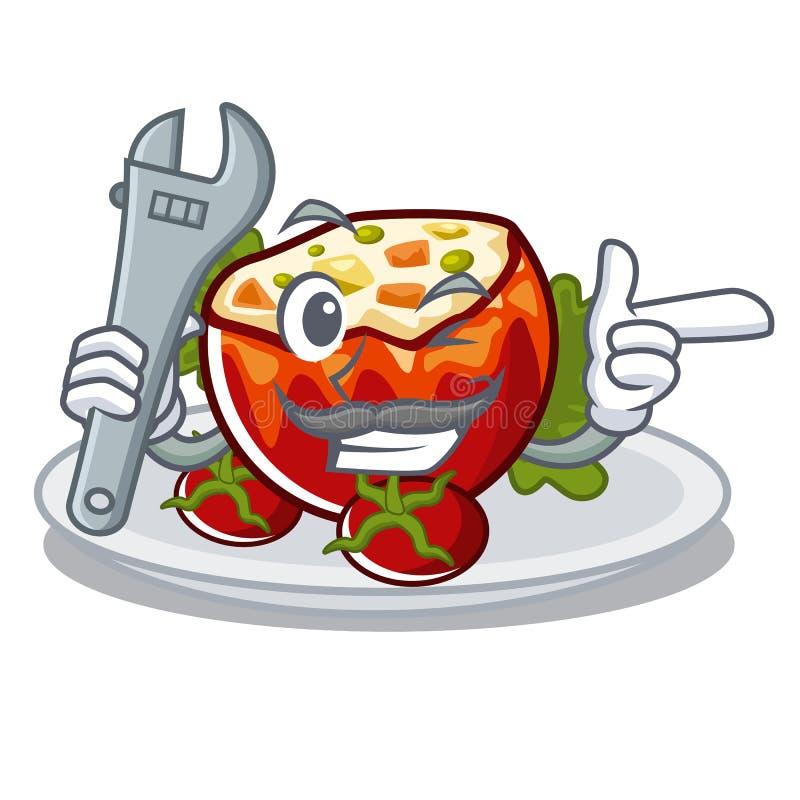 Механик заполнил томаты в форме мультфильма бесплатная иллюстрация