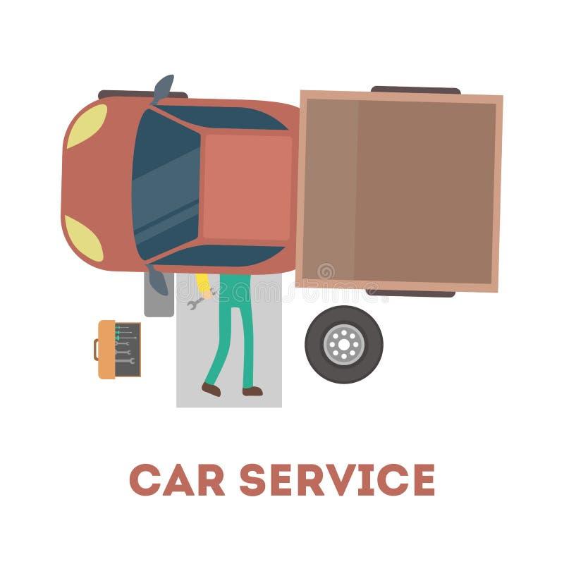 Механик лежа под автомобилем и ремонтируя автомобиль иллюстрация вектора