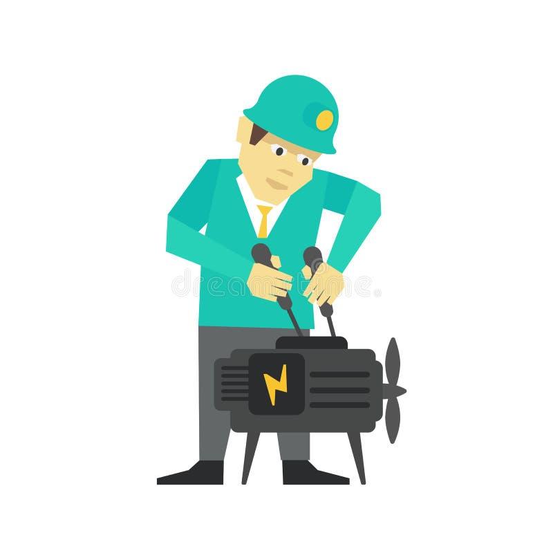 Механик персоны, бизнесмен ремонта Человек регулирует двигатель с отверткой в его руках Ремонтная мастерская плоский цвет иллюстрация вектора
