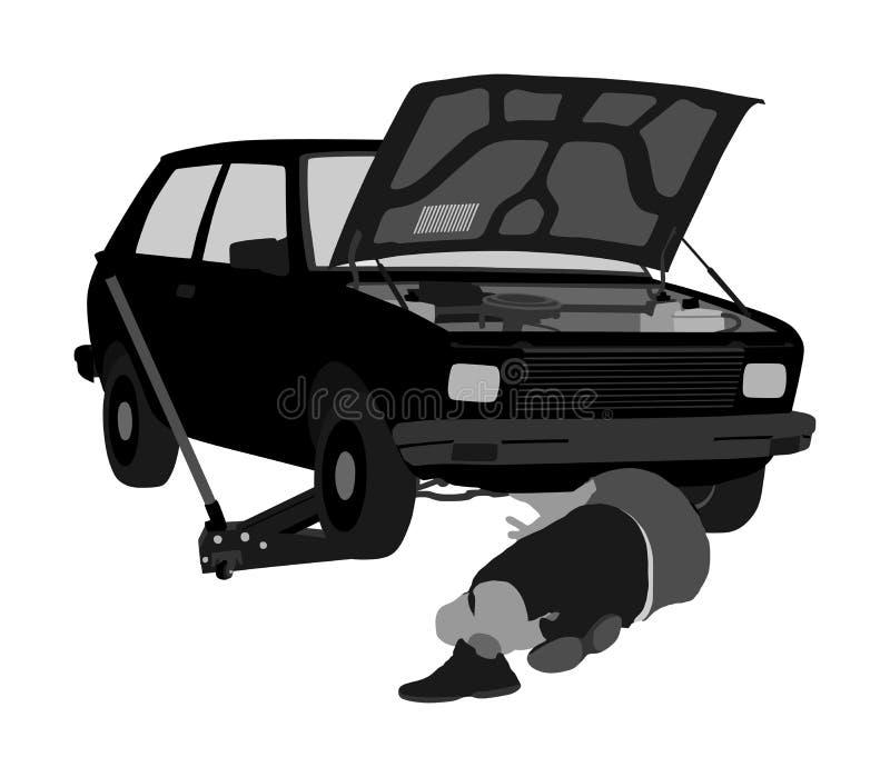 Механик ремонтных услуг автомобиля на векторе дороги сломленная дорога автомобиля иллюстрация вектора