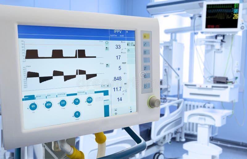 Механически вентиляция легкего в ICU стоковое фото