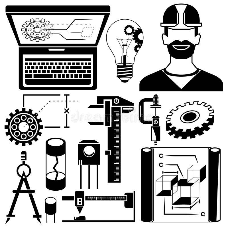 Механически инструменты, значки инженера иллюстрация вектора