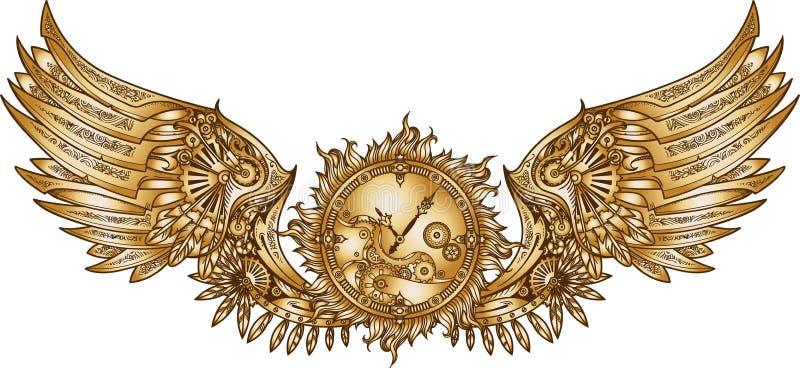 Механически крыла в стиле steampunk с clockwork иллюстрация штока