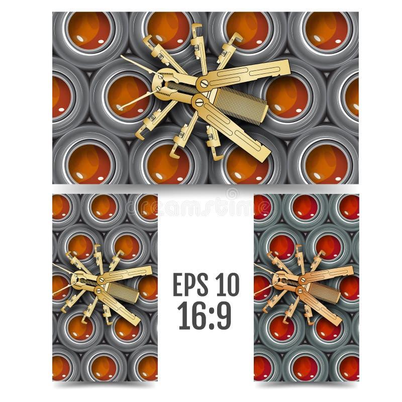 Механически пчела на клетках гаек 16:9 формата иллюстрация штока
