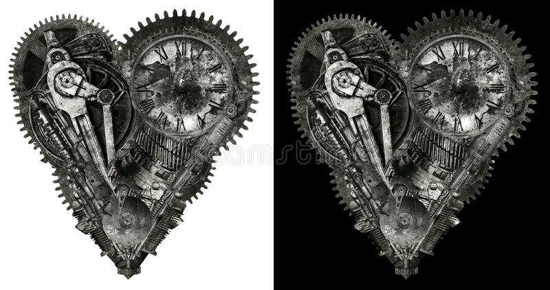 Механически человеческое изолированное сердце влюбленности стоковая фотография