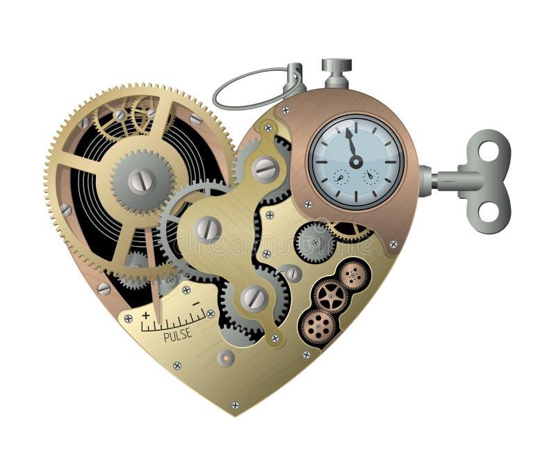 Механическое сердце в стиле steampunk r иллюстрация штока