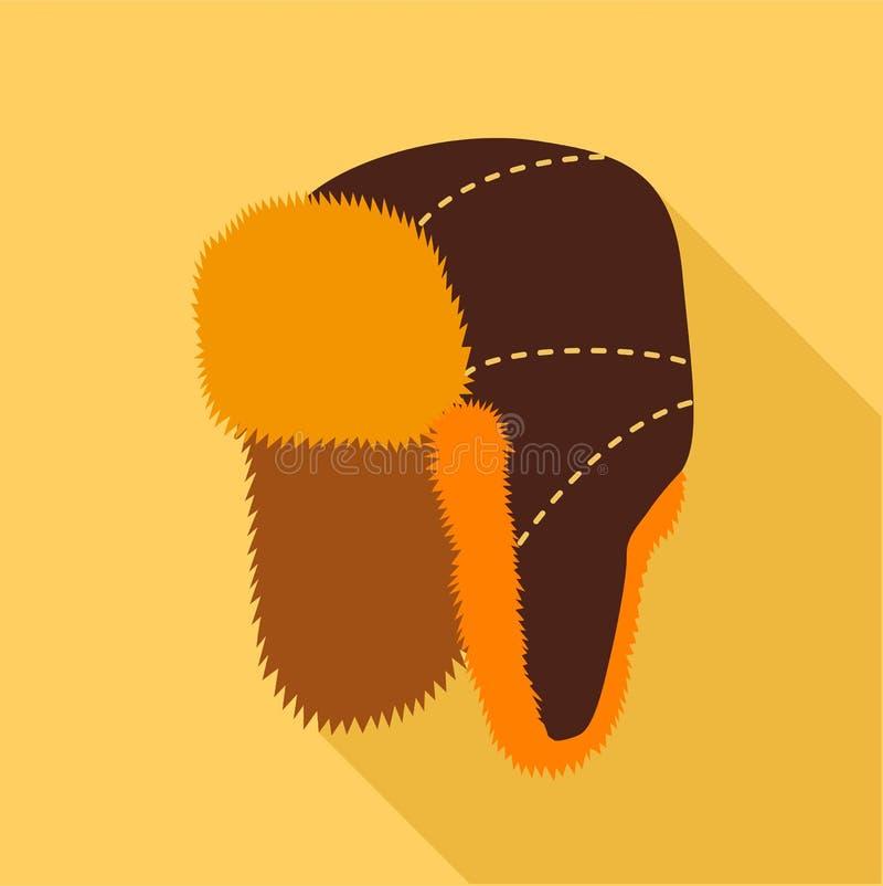 Меховая шапка с ухом хлопает значок, плоский стиль иллюстрация вектора