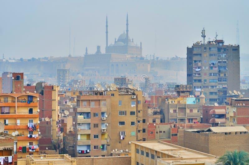 Мечеть алебастра в тумане, Каире, Египте стоковое фото rf