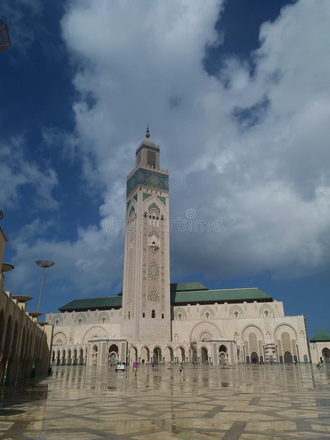 Мечеть во время захода солнца - Касабланка Хасана II, Марокко 2 Касабланка 2018 стоковое изображение rf