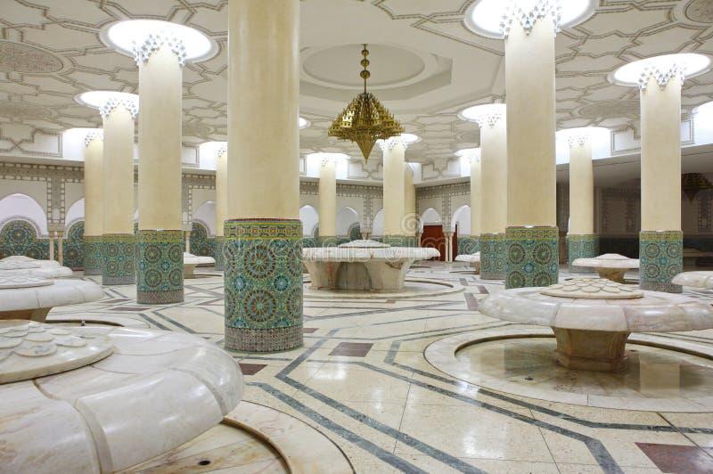 мечеть интерьеров hassan залы омовения стоковое изображение