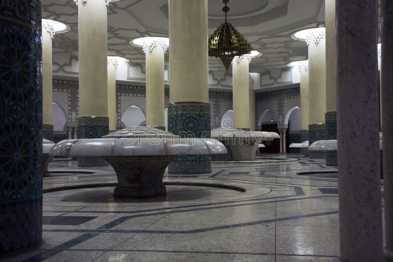 мечеть короля hassan ii залы омовения стоковые фото