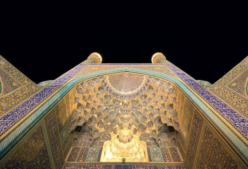 Мечеть на ноче, Isfahan имама стоковые изображения
