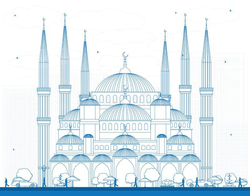 Мечеть плана голубая в Стамбуле Турции иллюстрация вектора