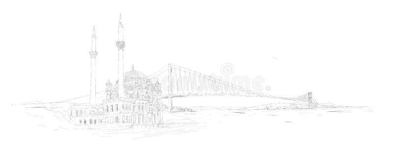Мечеть Стамбула вектора панорамная ortakoy иллюстрация штока