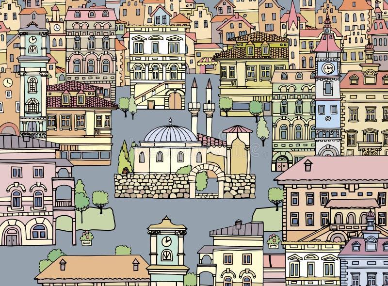 Мечеть с минаретами в европейском городе Эскиз, нарисованная рука, cartoo иллюстрация вектора